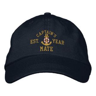 Captain's Mate Golden Lifesaver Anchor Custom Year Embroidered Baseball Cap