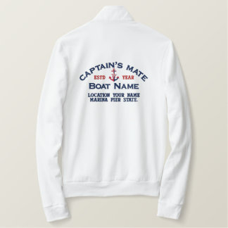 Captain's Mate Nautical Anchor Easily Personalized Embroidered Jacket
