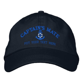Captain's Mate Your Boat Name Your Name or Both Embroidered Baseball Hat