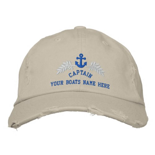 Captains personalized boat anchor embroidered baseball cap
