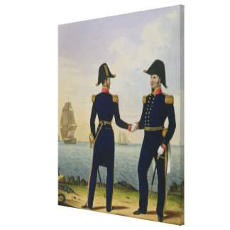 Captains, plate 5 from 'Costume of the Royal Navy Gallery Wrapped Canvas