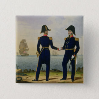 Captains, plate 5 from 'Costume of the Royal Navy Pinback Button