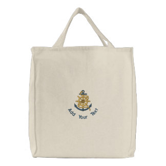 Captain's Wheel & Anchor Embroidered Tote Bag