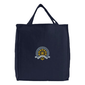 Captain's Wheel Embroidered Tote Bag