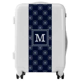 Captain'S Wheel Pattern  Add Your Initial Luggage