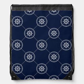Captain'S Wheel Pattern Drawstring Bag