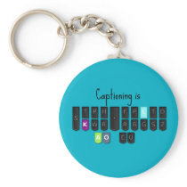 Captioning is Cool Steno Keyboard Key Fob Basic Round Button Keychain