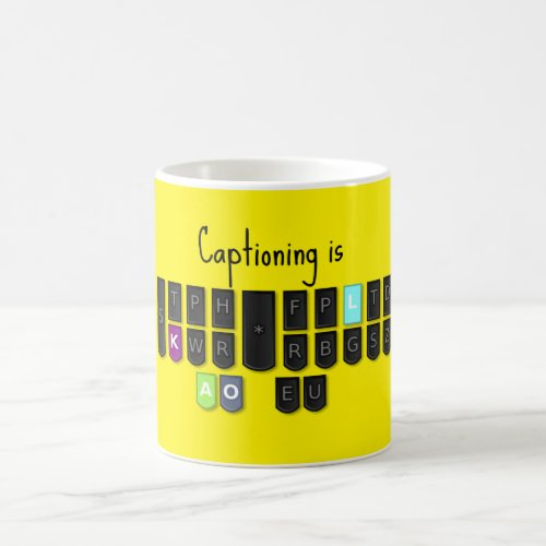 Captioning is Cool Steno Keyboard Mugs