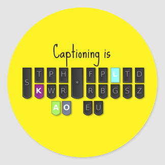 Captioning is Cool Steno Keyboard Stickers