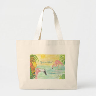 Captiva Island Flamingos Florida Art Large Tote Bag