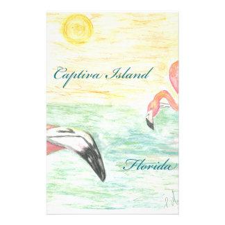 Captiva Island Flamingos Florida Art Stationery Paper