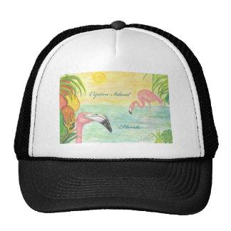 Captiva Island Flamingos Florida Art Trucker Hat