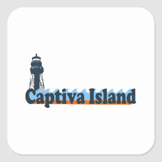 Captiva Island - Lighthouse Design. Square Sticker