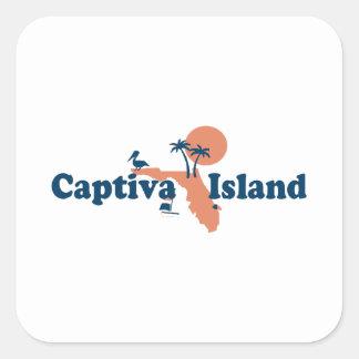 Captiva Island - Map Design. Square Sticker