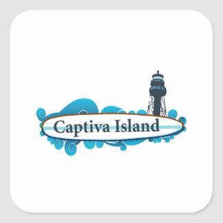 Captiva Island - Surf.. Square Sticker