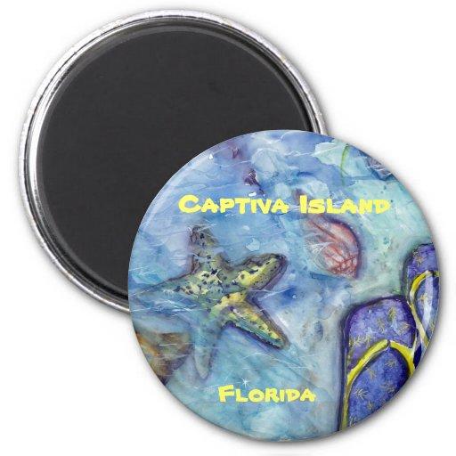 Captiva Island Watercolor Florida Art 2 Inch Round Magnet