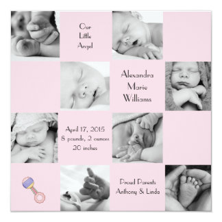 Captivating 8 Pink - Photo Birth Announcement