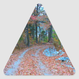 Captivating Autumn Afternoon Drive Triangle Sticker
