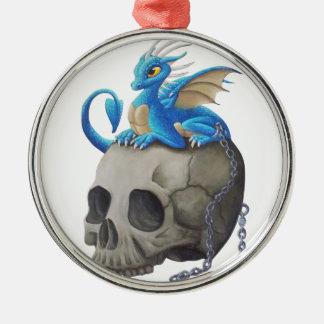 Captive Dragon On Skull Metal Ornament