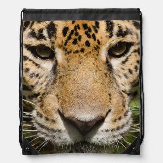 Captive jaguar in jungle enclosure drawstring bag