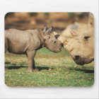 Captive Southern White Rhino with young Mouse Pad