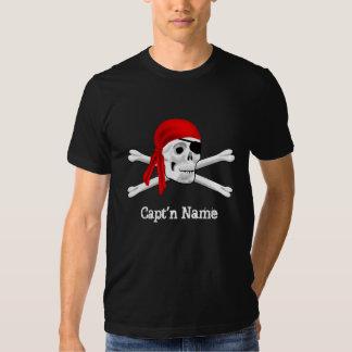 Capt'n Name Pirate Skull & Bones Black T-shirt