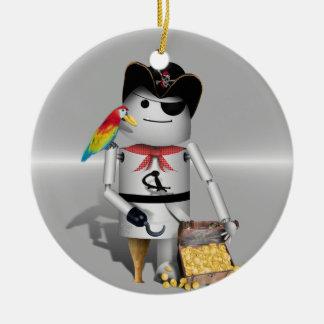 Capt'n Robo-x9 - Metal Background Christmas Ornament