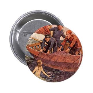 Captura de la sirena de los marineros del vintage pin redondo de 2 pulgadas