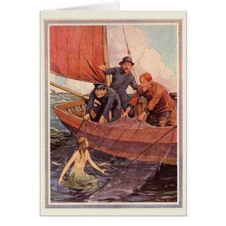 Captura de la sirena de los marineros del vintage tarjeta pequeña