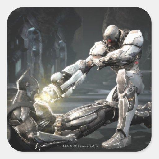 Captura de pantalla: Batman contra Cyborg Calcomanía Cuadrada Personalizada