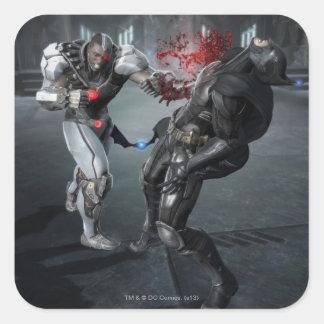 Captura de pantalla: Cyborg contra Batman Pegatina Cuadrada