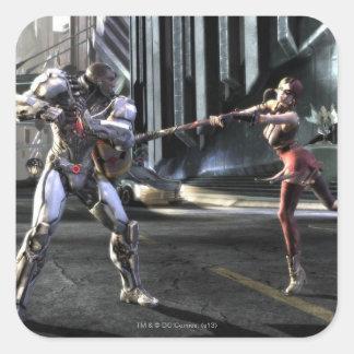 Captura de pantalla: Cyborg contra Harley Pegatina Cuadrada