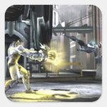 Captura de pantalla: Cyborg contra Nightwing 2 Calcomania Cuadrada Personalizada