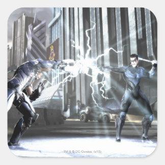 Captura de pantalla: Cyborg contra Nightwing 4 Pegatina Cuadrada