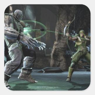 Captura de pantalla: Grundy contra flecha verde Pegatina Cuadrada