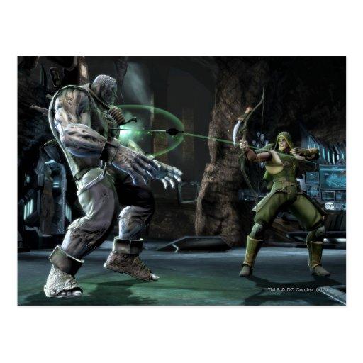 Captura de pantalla: Grundy contra flecha verde Tarjeta Postal
