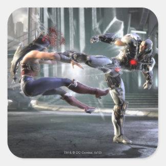 Captura de pantalla: Mujer Maravilla contra Cyborg Pegatina Cuadrada