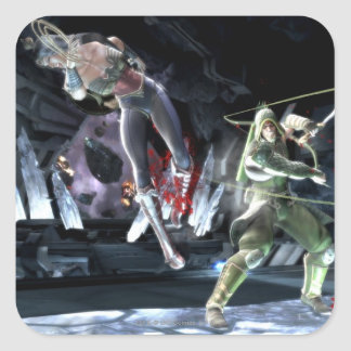 Captura de pantalla: Mujer Maravilla contra flecha Pegatina Cuadrada