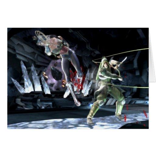 Captura de pantalla: Mujer Maravilla contra flecha Felicitaciones