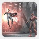 Captura de pantalla: Superhombre contra flash Calcomania Cuadradas Personalizadas
