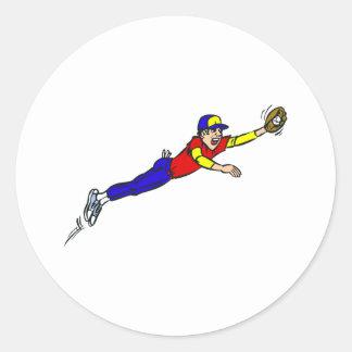 Captura del béisbol etiquetas redondas