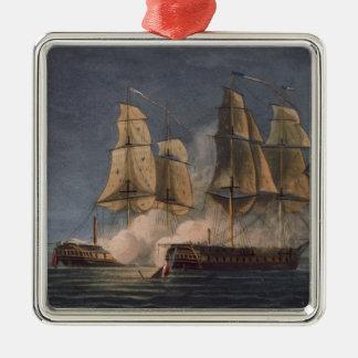 Captura del Thetis por amatista del HMS, 10mo Adorno Cuadrado Plateado