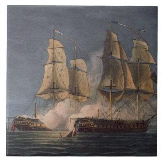 Captura del Thetis por amatista del HMS, 10mo Nove Azulejo Cuadrado Grande