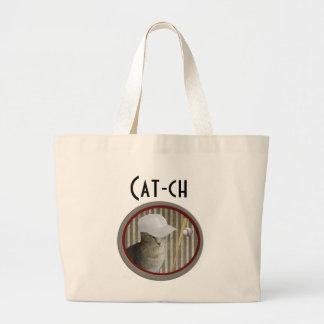 Captura divertida de moda del gato del béisbol bolsa de tela grande