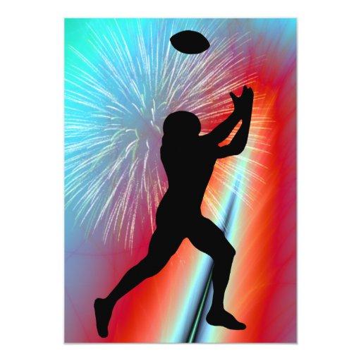 Captura roja del fútbol del resplandor de Rocket Invitaciones Personales