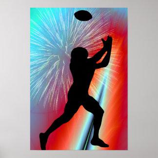 Captura roja del fútbol del resplandor de Rocket Poster