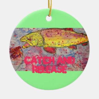 captura y lanzamiento adorno navideño redondo de cerámica