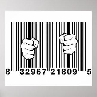 Capturado por la prisión del código de barras del  póster