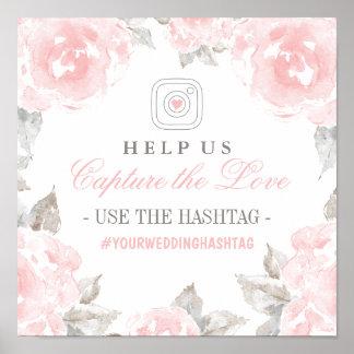 Capture los rosas de la acuarela de la muestra el póster