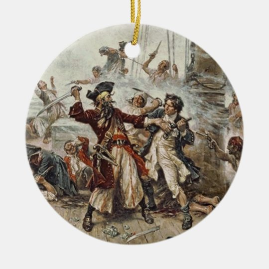 Capture of Blackbeard Ceramic Ornament
